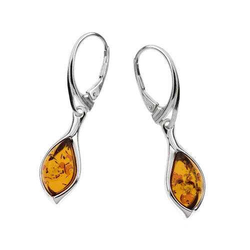 Small dangles Tear drop shape Earrings with Cognac Color Baltic Amber in Sterling Silver