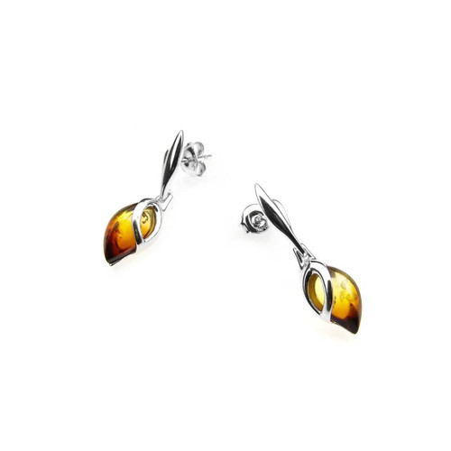 Dangles Tear drop shape Post Earrings with Sunrise Color Baltic Amber in Sterling Silver