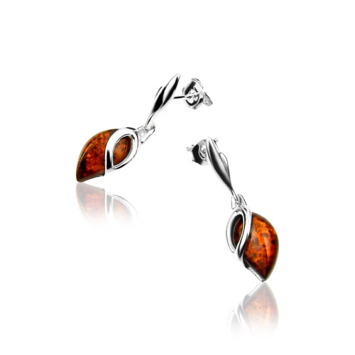 Dangles Tear drop shape Post Earrings with Cognac Color Baltic Amber in Sterling Silver