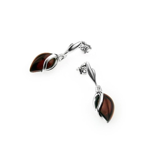 Dangles Tear drop shape Post Earrings with Cherry Color Baltic Amber in Sterling Silver