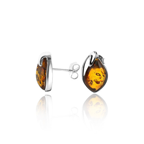 Tear drop shape Post Earrings with Cognac Color Baltic Amber in Sterling Silver