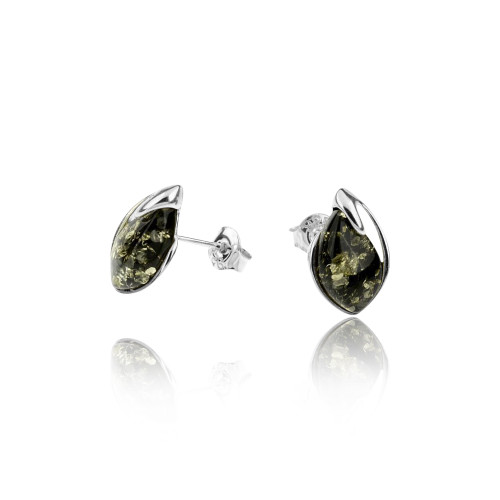 Green Color Baltic Amber Tear drop shape Post Earrings in Sterling Silver