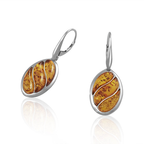 Oval shape Earrings with Cognac Color Baltic Amber in Sterling Silver
