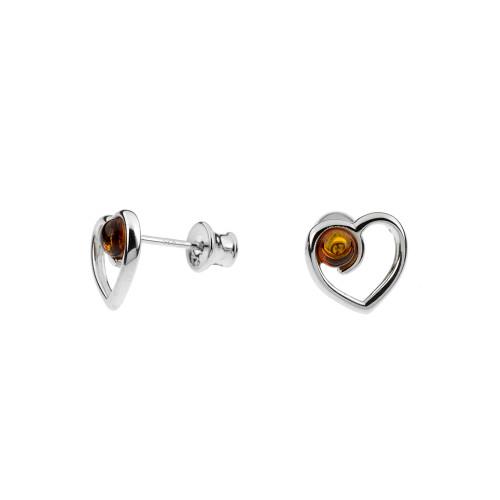 Heart shape Cognac Color Baltic Amber Earrings in Sterling Silver