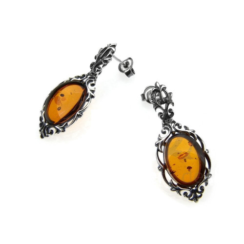 Cognac Color Baltic Amber Oval shape stone Earrings in Sterling Silver