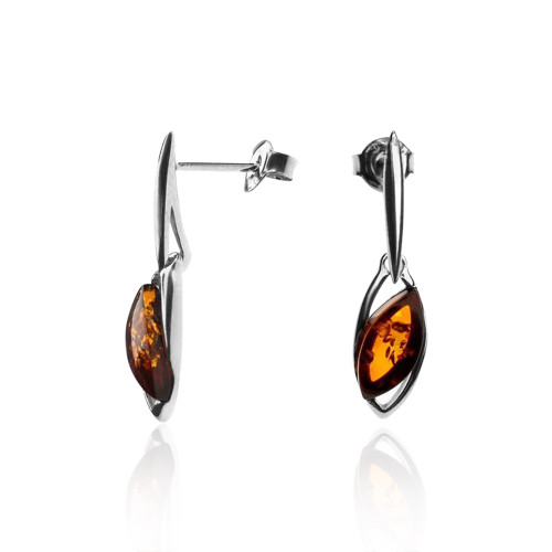 Cognac Color Baltic Amber Small dangle Earrings in Sterling Silver