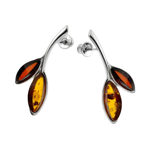 Post Earrings with Multi Color Baltic Amber in Sterling Silver