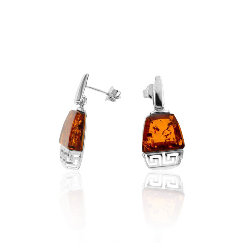 Cognac Color Baltic Amber Post Earrings with Greek motif in Sterling Silver