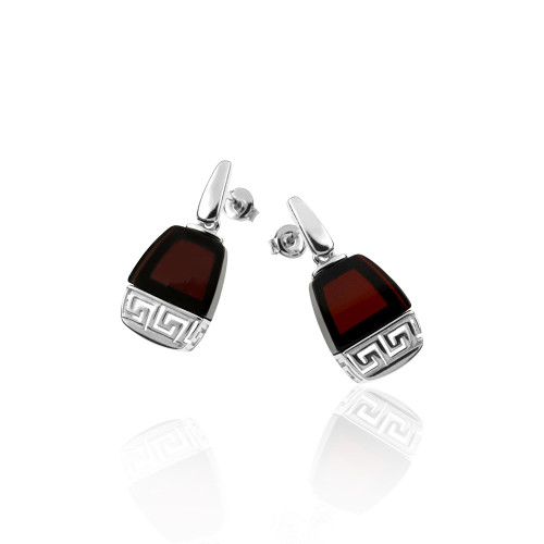 Cherry Color Baltic Amber Post Earrings with Greek motif in Sterling Silver