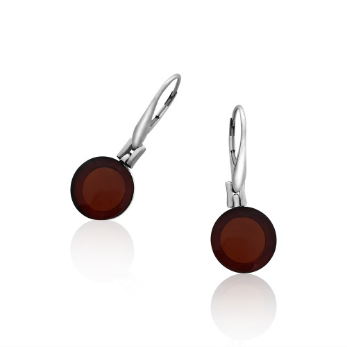 Classic Round shape Earrings with Cherry Color Baltic Amber in Sterling Silver