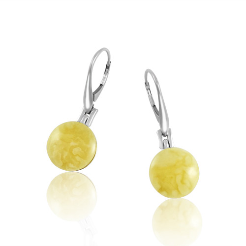 Classic Round shape Earrings with Butterscotch Color Baltic Amber in Sterling Silver