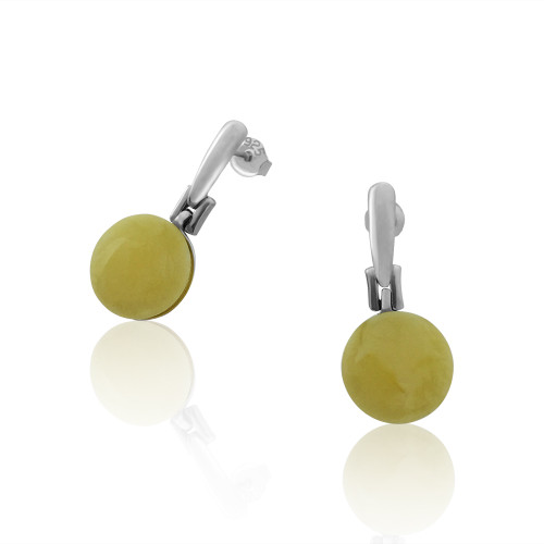 Classic Round shape Post Earrings with Butterscotch Color Baltic Amber in Sterling Silver