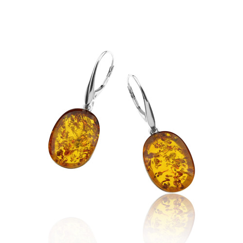 Classic Oval shape Cognac Color Baltic Amber Lever-back Earrings in Sterling Silver