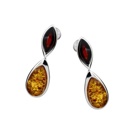 Cherry & Cognac Color Baltic Amber Post Earrings in Sterling Silver