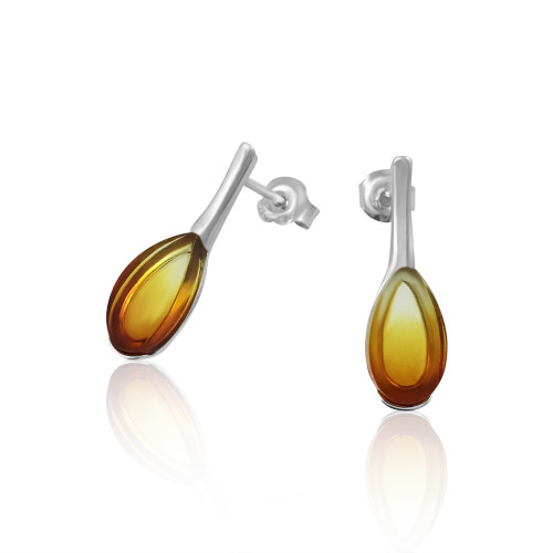 Small Tear drop shape Post Earrings with Sunrise Color Baltic Amber in Sterling Silver