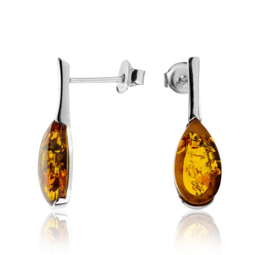 Small Tear drop shape Post Earrings with Cognac Color Baltic Amber in Sterling Silver