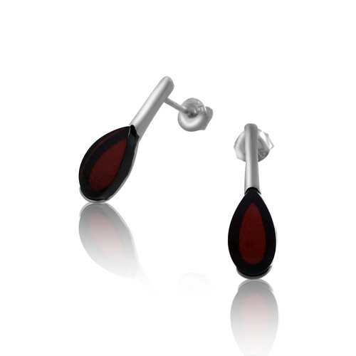 Small Tear drop shape Post Earrings with Cherry Color Baltic Amber in Sterling Silver