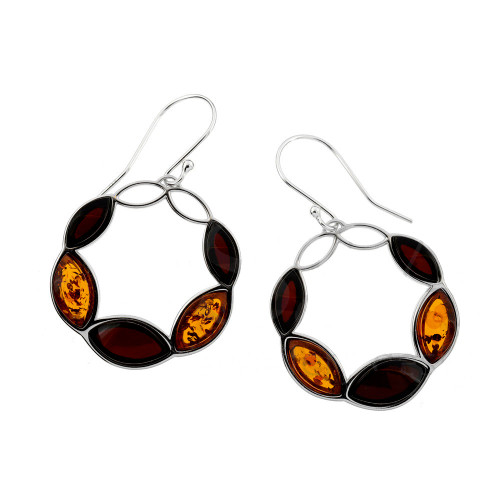 Multi Color Baltic Amber Fishhook Earrings in Sterling Silver