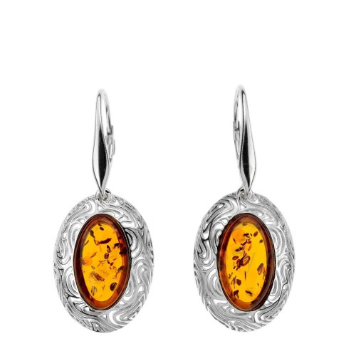 Oval shape Cognac Color Baltic Amber Earrings in Sterling Silver