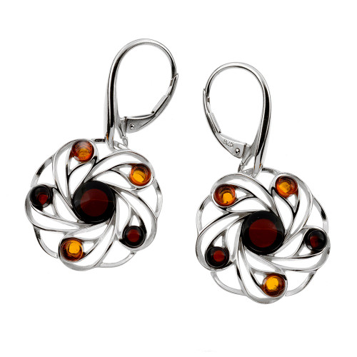 Round Multi Color Baltic Amber Lever back Earrings in Sterling Silver