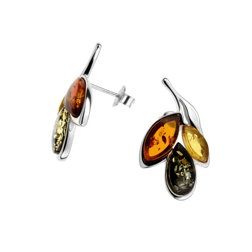 Leaf shape Multi Color Baltic Amber Post Earrings in Sterling Silver