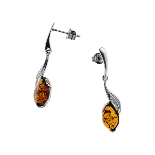 Cognac Color Baltic Amber stone Post Earrings in Sterling Silver