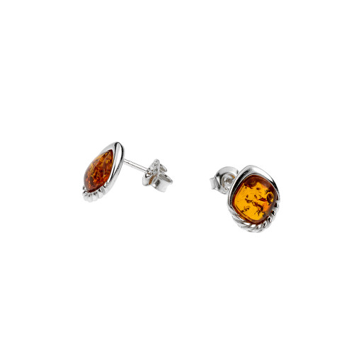 Cognac Color Baltic Amber Stud Earrings in Sterling Silver