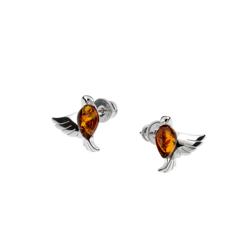 Small bird Stud Earrings with Cognac Color Baltic Amber in Sterling Silver