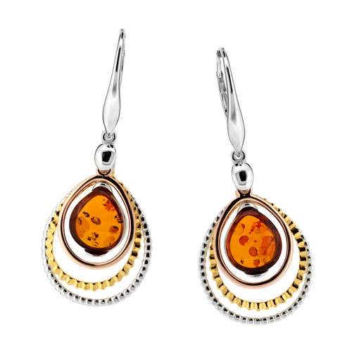 Cognac Color Baltic Amber Earrings in mix Sterling Silver & Gold-plated Sterling Silver