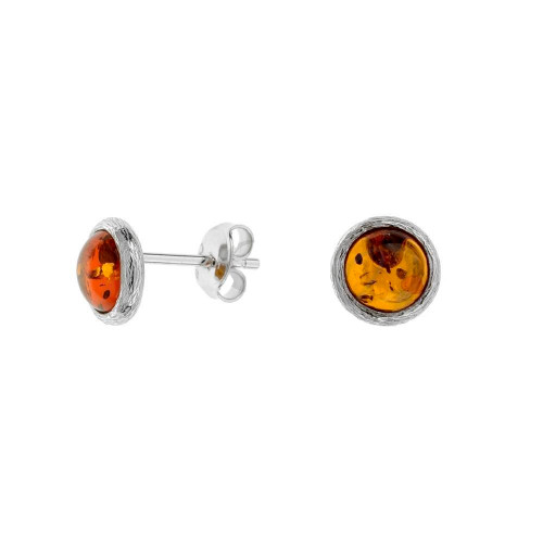 Small Round Cognac Color Baltic Amber Earrings in Sterling Silver