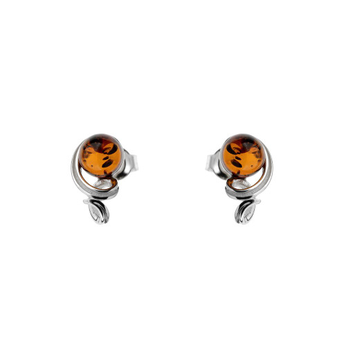 Post Earrings with small round Cognac Color Baltic Amber in Sterling Silver
