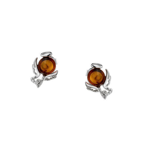 Small Angel Earrings with Cognac Color Baltic Amber in Sterling Silver