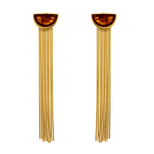 Art Deco style long Earrings with Cognac Color Baltic Amber in Yellow Gold Plated Sterling Silver
