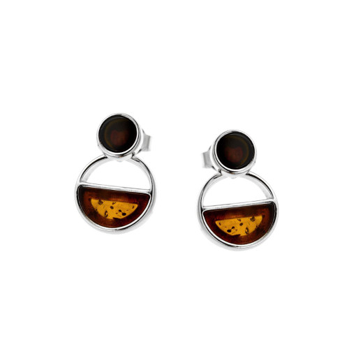 Small round two stone Multi Color Baltic Amber Earrings in Sterling Silver