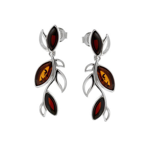 Long leafs style Multi Color Baltic Amber Earrings in Sterling Silver