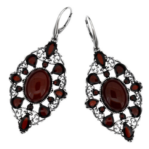 Chandeliers dangle style Earrings with Cherry Color Baltic Amber in Sterling Silver