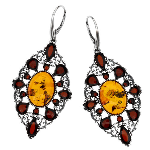 Chandeliers dangle style Earrings with Multi Color Baltic Amber in Sterling Silver