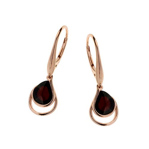 Cherry Color Baltic Amber Earrings in Rose Goldplated Sterling Silver