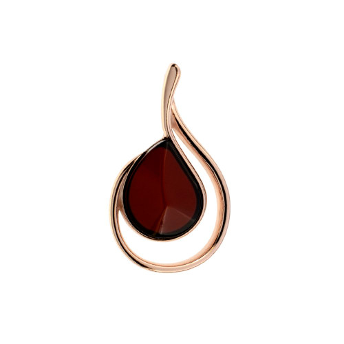 Cherry Color Baltic Amber Pendant in Rose Goldplated Sterling Silver