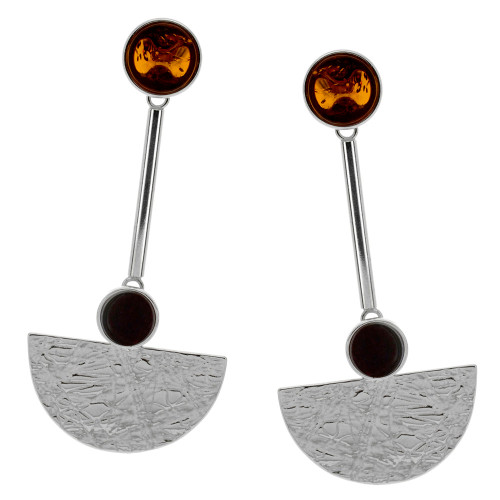 Art Deco Style Jewelry Collection Multi Color Baltic Amber Earrings in Sterling Silver