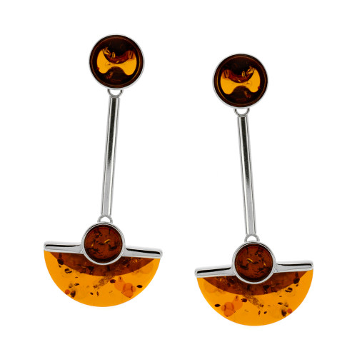 Art Deco Style Jewelry Collection Cognac Color Baltic Amber Earrings in Sterling Silver