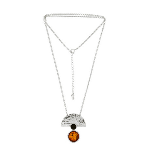 Art Deco Style Jewelry Collection Multi Color Baltic Amber Necklace in Sterling Silver