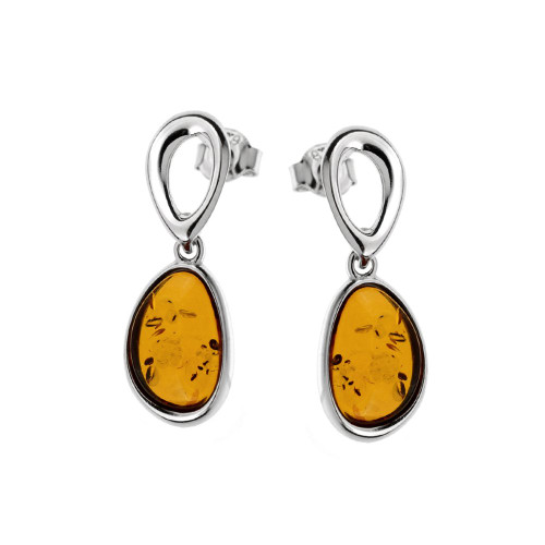 Oval shape dangle Earrings with Cognac Color Baltic Amber in Sterling Silver
