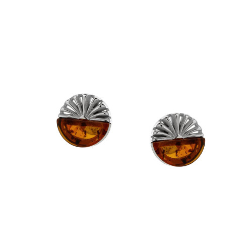 Post Round Earrings with Cognac Color Baltic Amber in Sterling Silver