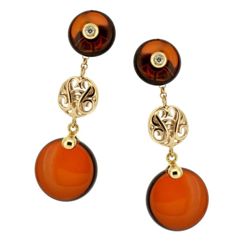 Post long dangle Earrings with Cherry Color Baltic Amber & Cubic Zirconia in Rose Goldplated Sterling Silver
