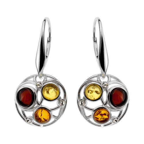 Round 3 stones Multi Color Baltic Amber & CZ Earrings in Sterling Silver