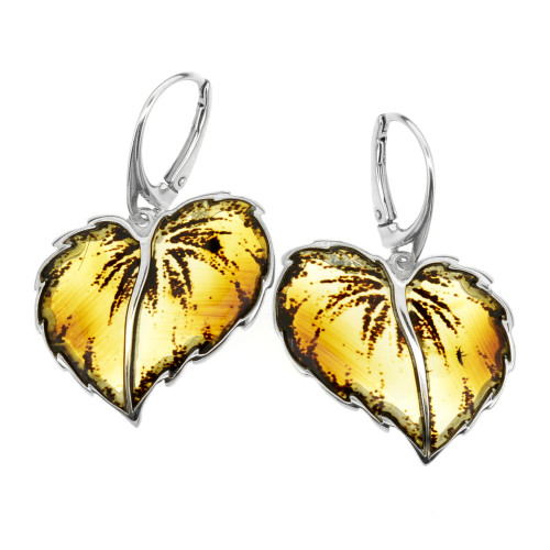 Carved leafs Collection Cognac Color Baltic Amber Earrings in Sterling Silver