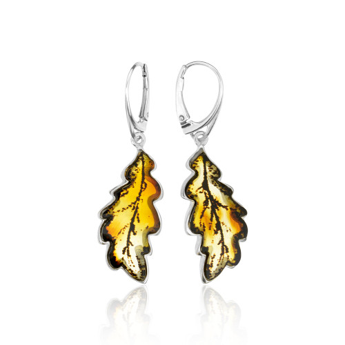 Carved leafs Collection Cognac Color Baltic Amber long Earrings in Sterling Silver