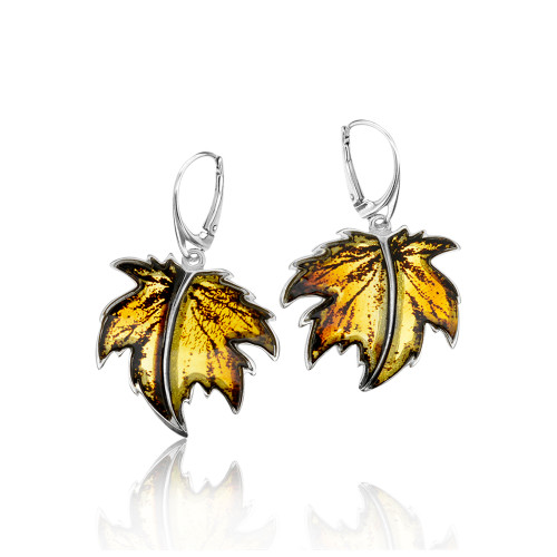 Carved leaves Collection Cognac Color Baltic Amber big Earrings in Sterling Silver