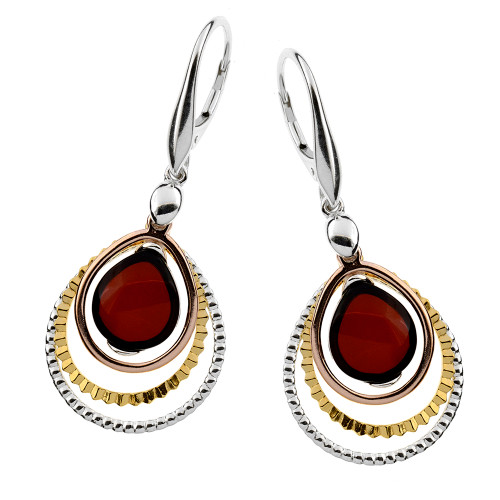 Cherry Color Baltic Amber Earrings in mix Sterling Silver & Gold-plated Sterling Silver